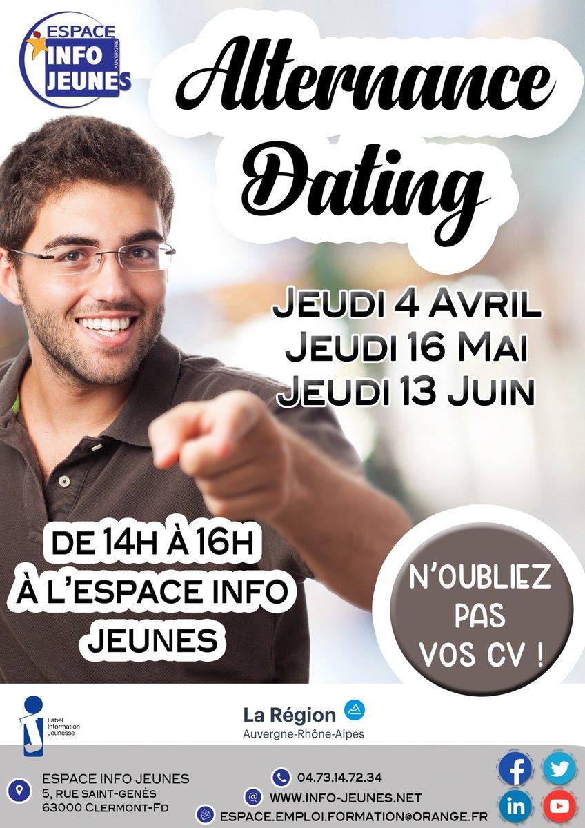 [agenda] 🗓 Alternance-Dating à l'@espaceinfojeune de Clermont-Ferrand le 16 mai et 13 juin de 14h à 16h 😉 Venez avec plusieurs CV et décrochez votre contrat en #alternance pour la rentrée ! 👉 https://t.co/kKc1F99oEp https://t.co/8WOuehkrof