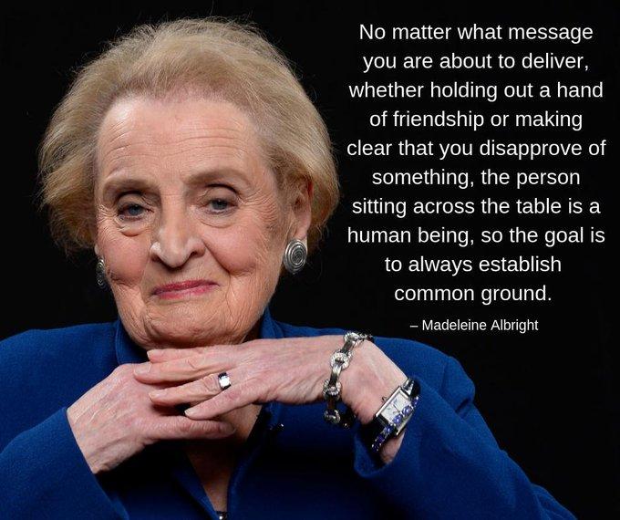 Happy birthday to Madeleine Albright, America\s first female secretary of state, born OTD in 1937.