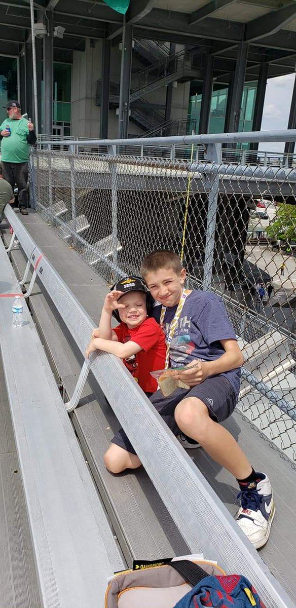 The 1 on the right @indynate06 had 4 teeth pulled at 11, couldnt miss a track day! The other on his first day @IMS, @jdouglas4 #Indy500 #ThisIsMay #INDYCAR #cousins