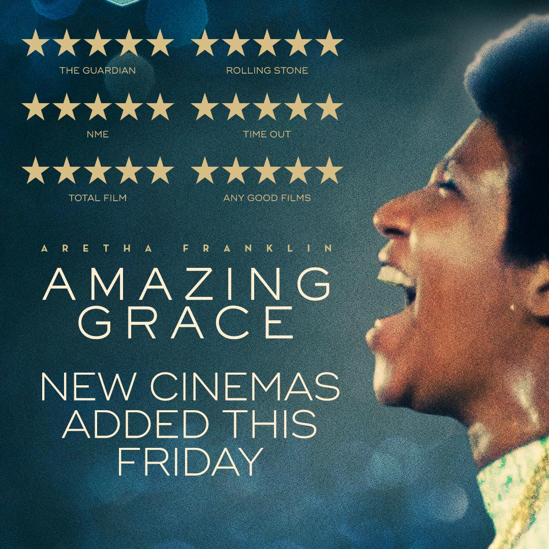 Due to popular demand, the ★★★★★ (The Guardian) concert film #AmazingGrace - revealing a never-before-seen performance by the Queen of Soul Aretha Franklin - will be playing at more UK cinemas nationwide from Friday. Book your tickets now: amazinggracefilm.co.uk