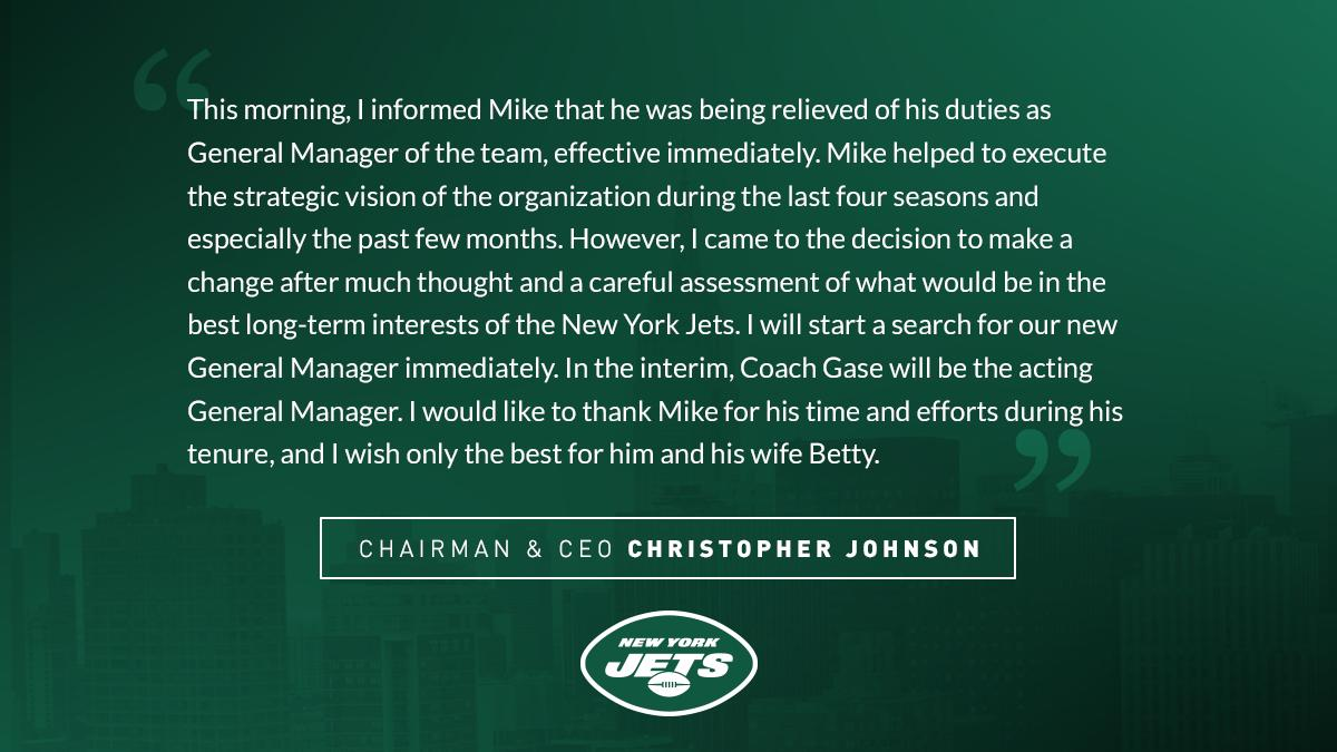 The New York Jets Have Fired Their General Manager