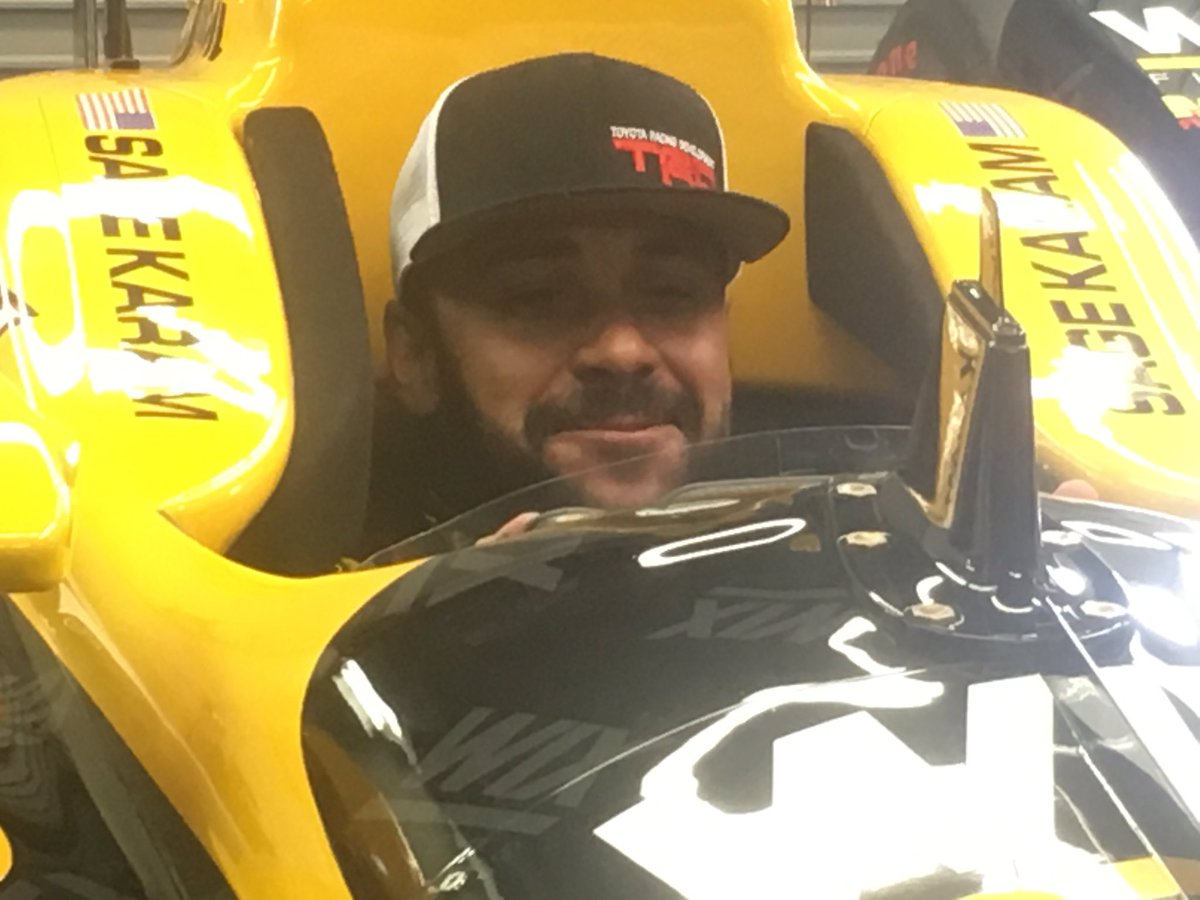 Not his usual ride: @JRTodd373 slides in for a close look inside @SageKaram @DRRIndyCar number 24 car #Indy500