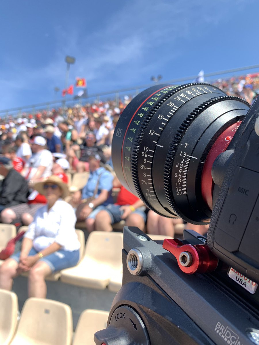 Shooting #bts colour @F1 #barcelonagp last week. @CanonUSA 85mm T1.3 #cineprime lens making the magic happen 🎥🏎 #canon #tvproduction #onlocation #filming #f1 #cameraman