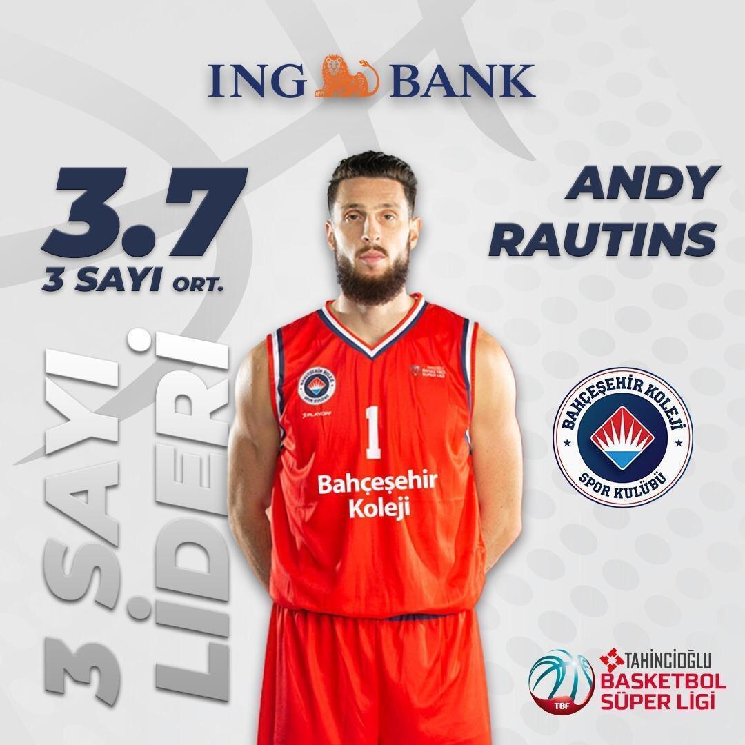#TahincioğluBasketbolSüperLigi'nde normal sezon geride kalırken  @ingbankturkiye 3 Sayı Lideri maç başına 3.7 üçlük isabetiyle @BKBasketbol forması giyen Andy Rautins oldu.👍⛹🏀🏆