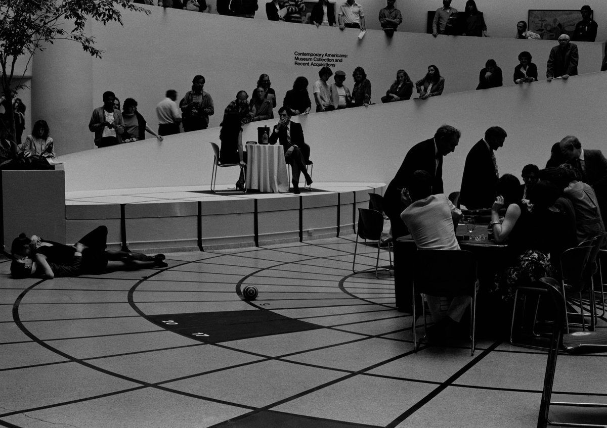 "#PlayMW—on April 11, 1981, for one day only, the floor of the rotunda was painted to resemble a roulette wheel for #DarrylSapien's performance ""American Roulette."" #MuseumWeek<br>http://pic.twitter.com/oMoeqgtU7R"