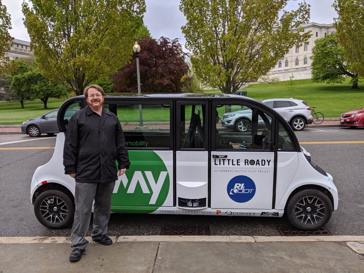 Have you tried it yet? Here's our first rider for #LittleRoady who was up bright and early at 6:30 a.m. at Providence Station for the start of the service today. Learn more about our autonomous vehicle research program at http://www.LittleRoady.com .