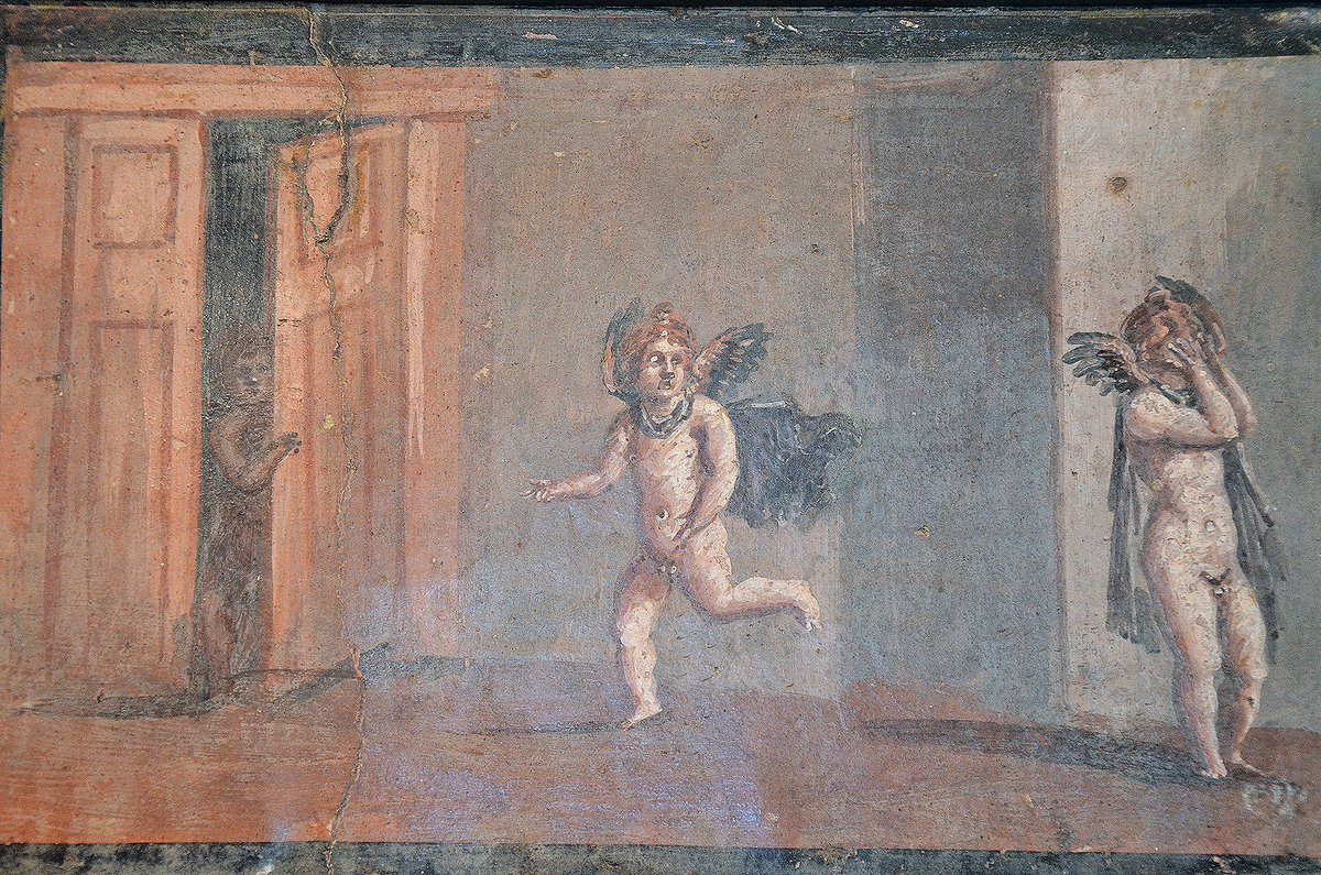 #MuseumWeek #PlayMW Fresco depicting Cupids playing hide-and-seek. From the cryptoporticus of the House of the Deer in Herculaneum. Naples Archaeological Museum. <br>http://pic.twitter.com/ioq9vJ2QSc