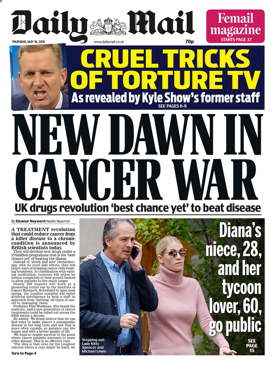 "Thursday's Daily Mail""New dawn in cancer war"" #tomorrowspaperstoday#bbcpapers(via @AllieHBNews)"