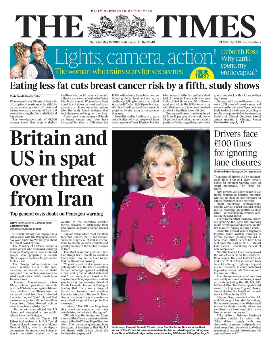 """Thursday's Times""""Britain and US in spat over threat from Iran""""#tomorrowspaperstoday#bbcpapers(via @AllieHBNews)"""