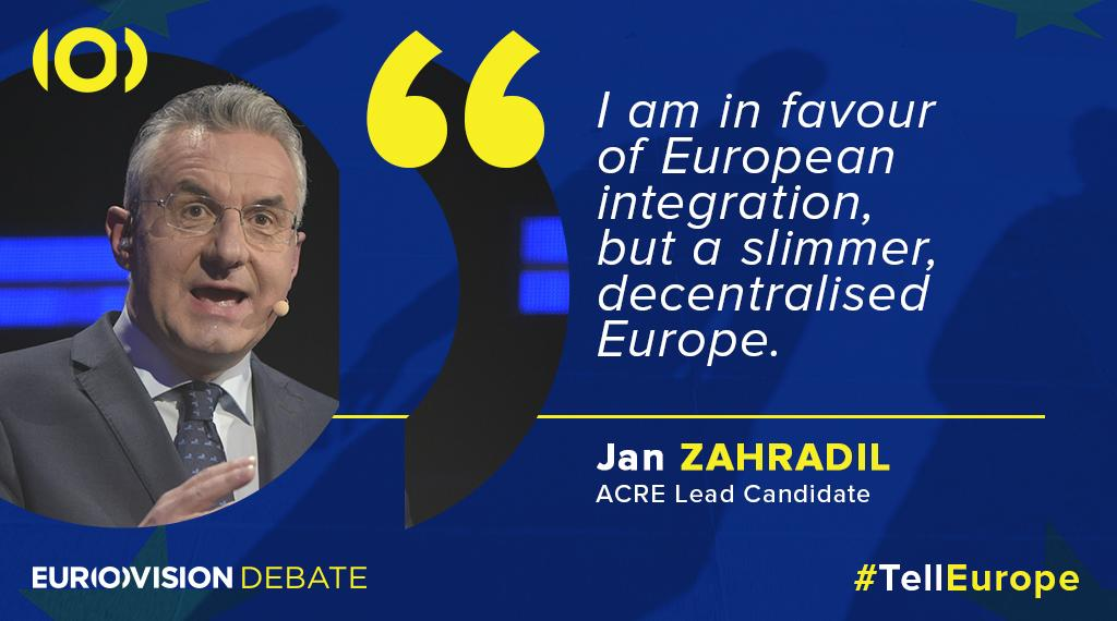 #European integration and unity was a hot topic tonight and lead candidate @ZahradilJan is also touching upon this. #TellEurope
