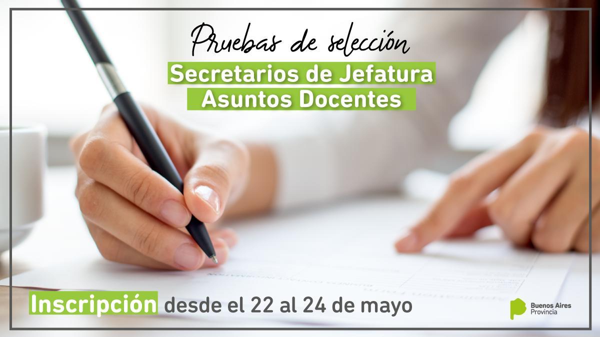 Secretaría de Asuntos Docentes: desde el 22 al 24 de mayo abre la inscripción para las pruebas de selección de secretarios de Jefatura 👉 http://abc.gob.ar/Secretaria-de-Asuntos-Docentes-abre-la-inscripcion-para-las-pruebas-de-seleccion-de-secretarios-de-Jefatura…