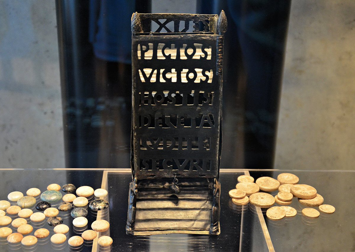 "#MuseumWeek #PlayMW Roman dice tower with the inscription ""Pictos victos, Hostis deleta, Ludite securi"".  Translation: ""Now the Picts have been conquered and the enemies destroyed, play safely"" From Vettweiss-Froitzheim, 4th century AD. LVR-LandesMuseum Bonn. <br>http://pic.twitter.com/kID3KLAFhR"