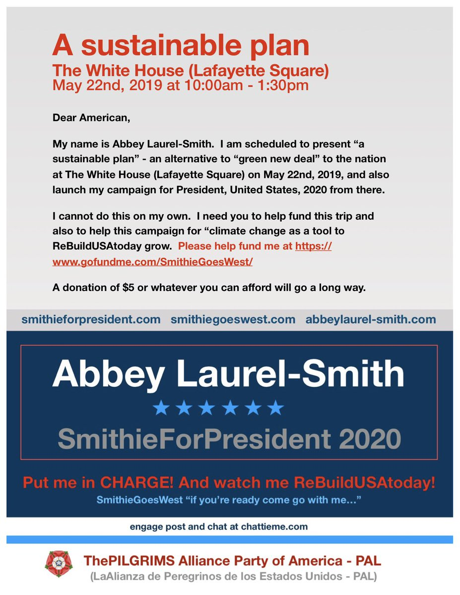 "@LizKrueger Stand with me to #RePurposeAmerica now! Join me in my quest to #ReDirectTheCongress #ReFocusTheMilitary and to #ReBuildUSAtoday! And don't forget to #Retweet this message from ""SmithieGoesWest"" if you agree with it. Thanks. #SmithieForPresident https://t.co/Gm5yeuBLZk"