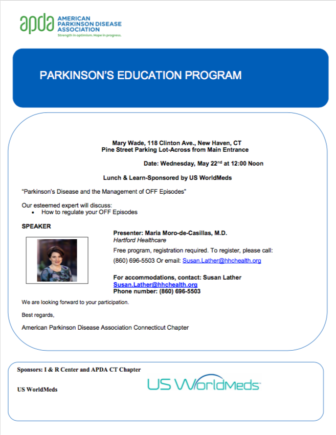 Join us next Tuesday, May 22nd for a Parkinson&#39;s Lunch &#39;N Learn at 12:00 pm!  To register, call (860) 696-5503 or email susan.lather@hhchealth.com  #MaryWade #SeniorLiving #Parkinsons #ParkinsonsCare #NursingHome #NewHaven<br>http://pic.twitter.com/5YyAoGbs0T