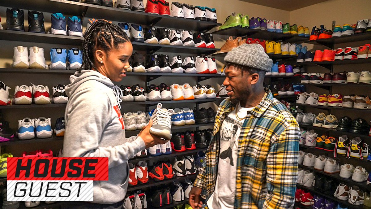 Come for the house tour, stay for the kicks.  Follow along with @nate_robinson as he tours sneakerhead 👑 and @WNBA star @tyoung11's Atlanta home.  Full video: http://playerstribu.ne/NateAndTy