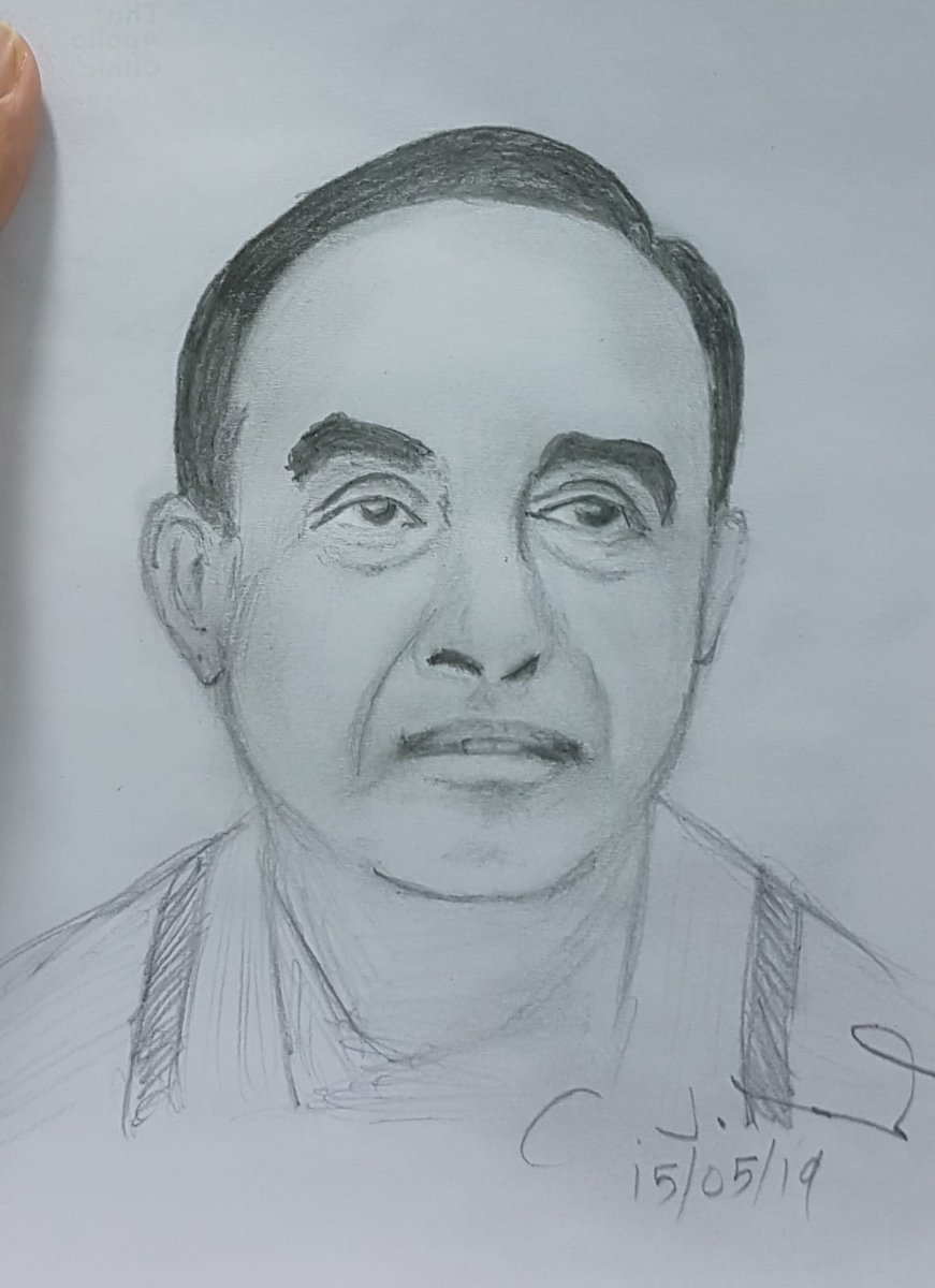 I am a great admirer of Dr @Swamy39 Sir since his Janata Party days. He is the most brilliant visionary and an absolutely fearless leader🙏Sitting in my consulting room I made a quick pencil sketch of Swamy Sir. I hope it shows the strength of his visionary eyes correctly🙏