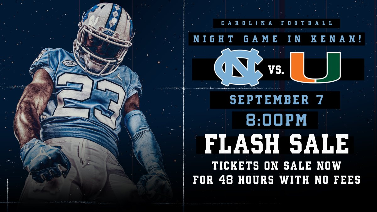 under the .  Our Sept. 7 game vs. @CanesFootball will kick off at 8 pm on @accnetwork.  Take advantage of our 48-Hour Flash Sale and get your tickets now.    https:// bit.ly/2HvqNjH  &nbsp;     https:// bit.ly/2EdYLrX  &nbsp;    #CarolinaFootball | #BeTheOne<br>http://pic.twitter.com/HcRHlQoxQ2
