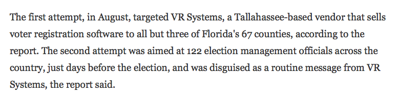 VR Systems is a company based in Florida's capital, Tallahassee, which is in Leon County. From Tampa Bay Times, June 2017: https://www.tampabay.com/news/politics/stateroundup/at-least-2-florida-counties-targeted-by-russian-hacking-attempt/2326339…