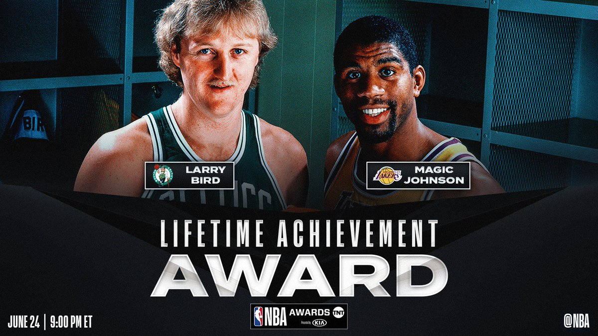 Larry Bird and @MagicJohnson to receive Lifetime Achievement Award at 2019 NBA Awards presented by Kia on TNT! ⭐️ #NBAAwards: June 24, 9pm/et ⭐️