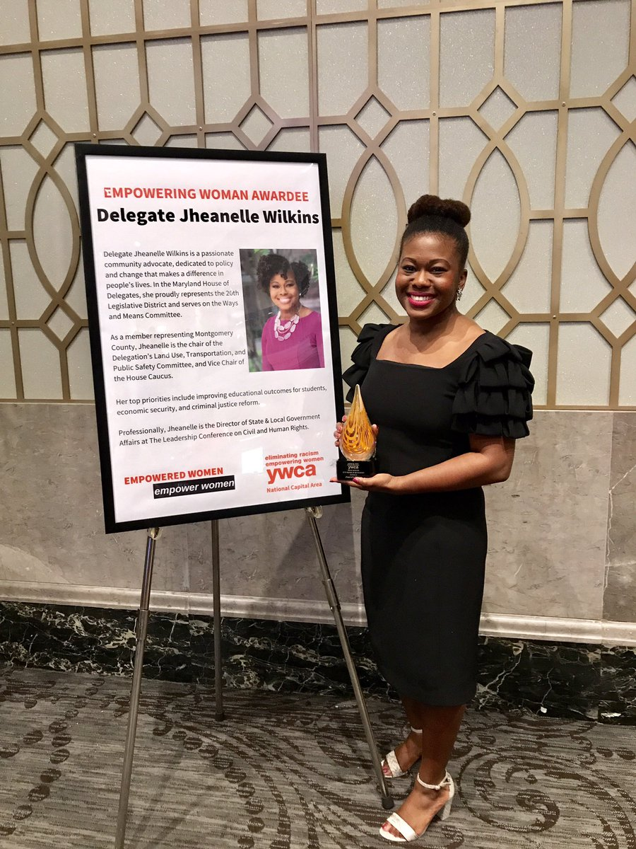 I an honored to receive the @YWCA_NCA 2019 Woman of Achievement Award for my efforts to eliminate racism. We have a long way to go, but we are building momentum toward change that creates greater opp. & justice for everyone. #eliminateracism #policychange #justice #equality<br>http://pic.twitter.com/wGPbRjQZSS