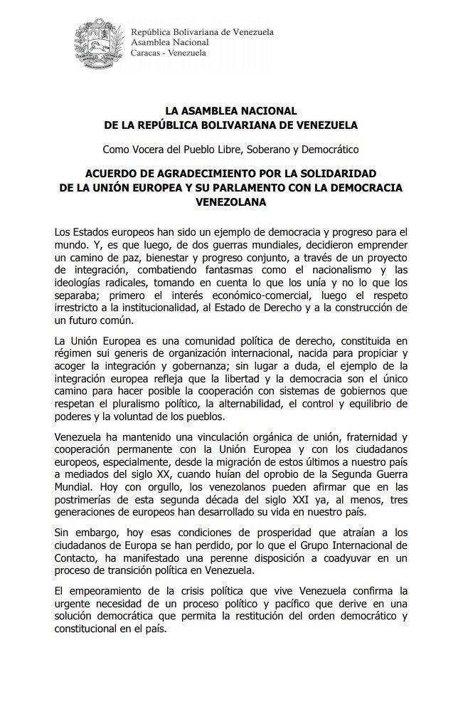 Asamblea Nacional Di Twitter Atencion Acuerdo De Agradecimiento Por La Solidaridad De La Union Europea Y Su Parlamento Con La Democracia Venezolana 15may Agendaan Https T Co Qxvgnjgd0o