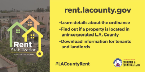 "#ICYMI: @CountyofLA's temporary Rent Stabilization Ordinance now includes ""just cause"" for most units - find our if your unit is covered by calling (833) 223-RENT(7368) or visiting https://t.co/0EQD4zba9m. #LACountyRent #LARent"