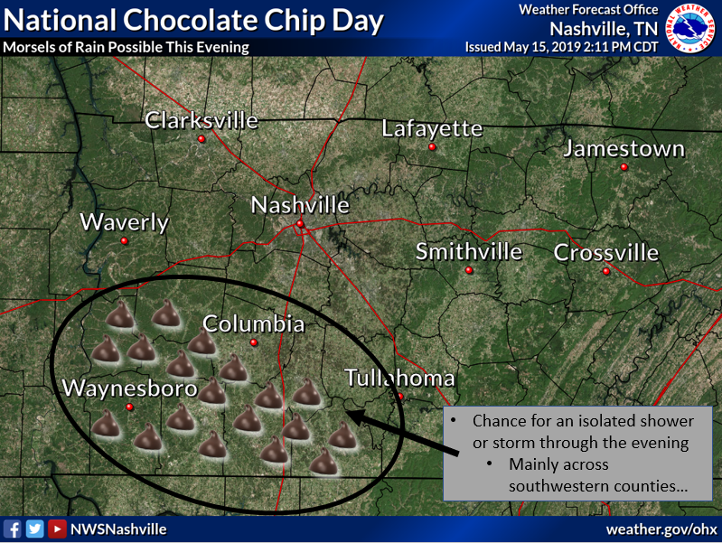 While the thought of chocolate chips emanating from the sky is a pleasant one, this evening will only include a chance for rain and storms across the southwest. Most locations will stay dry with temperatures remaining chocolate-optimal, in the 60s. #NationalChocolateChipDay <br>http://pic.twitter.com/RIjtUV3GIh