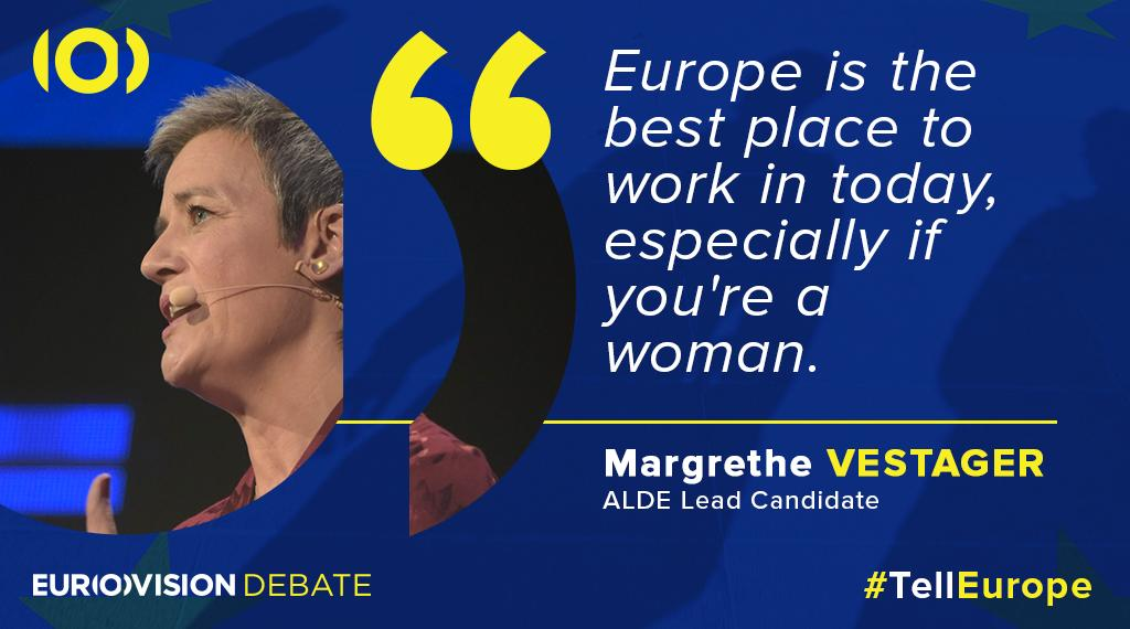Candidate for EU presidency @vestager underlines that #Europe is the best place to work as a woman but it can be further improved. #TellEurope