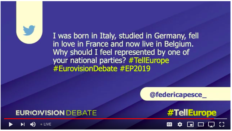 Our campaigner @federicapesce_ asked a question during tonight @EUDebate and made the case for a true pan-European progressive party! #JoinTheChange #VoteVolt #TellEurope #EE2019<br>http://pic.twitter.com/AKI7wqig5f