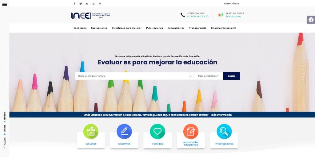 Presentamos el nuevo portal del INEE, donde se puede consultar de manera ordenada y transparente la información y bases de datos generadas por el Instituto. https://t.co/zKIuBbujZs