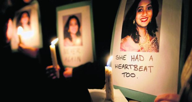 """With all these """"heartbeat bills"""" in the U.S., I keep thinking of this memorial to Savita Halappanavar in Ireland, who died of sepsis after being denied an abortion on the grounds that the fetus she was miscarrying still had a detectable heartbeat. """"She had a heartbeat too."""""""