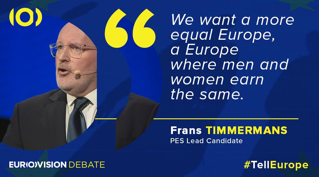 One of the lead candidates for @EU_Commission presidency @TimmermansEU highlights the importance of #equalwage for an equal #Europe 💶 #TellEurope