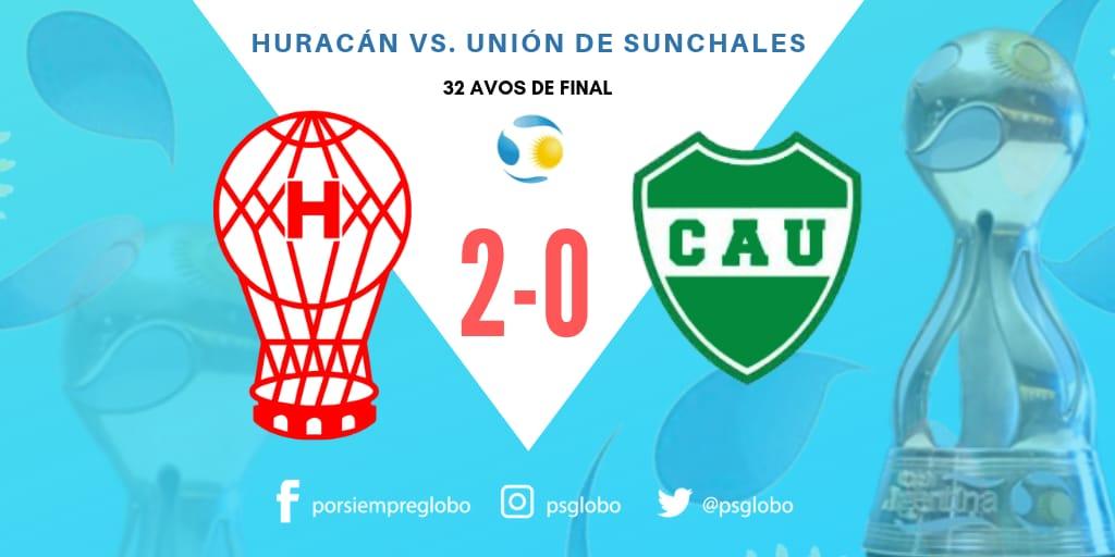 ¡GANÓ #Huracán! El Globo mejoró en el ST en Santa Fe y se impuso 2-0 ante #UniónDeSunchales con los goles de Lucas Gamba (de penal) y de Saúl Salcedo. Ahora, el próximo rival será #GodoyCruz. @Copa_Argentina #VamosGlobo🎈