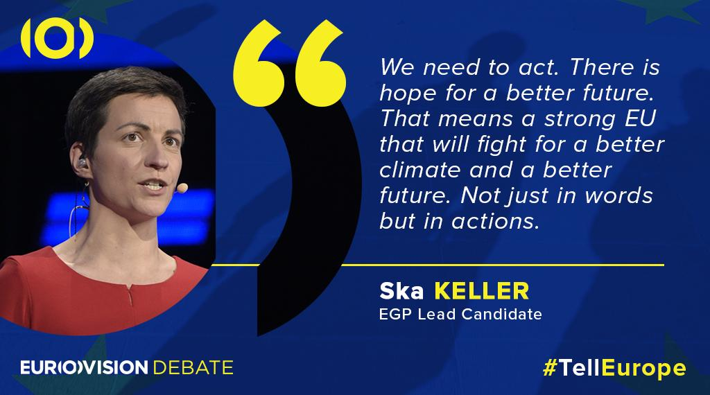 Lead candidate @SkaKeller is suggesting that #ClimateChange needs to be fought with action, not just words. #TellEurope