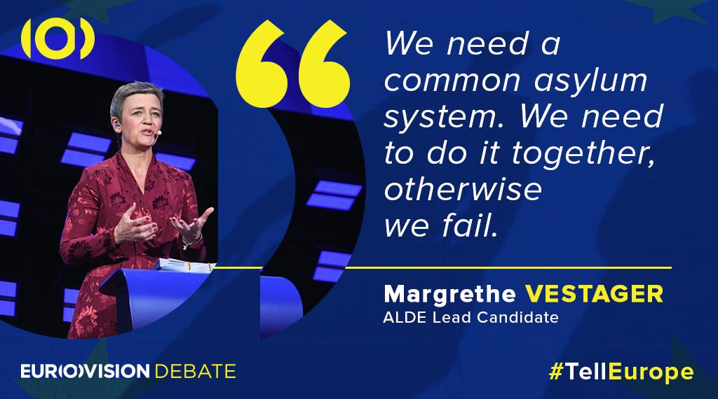 Talking about the challenges around #migration, @vestager suggests a common #European policy. #TellEurope