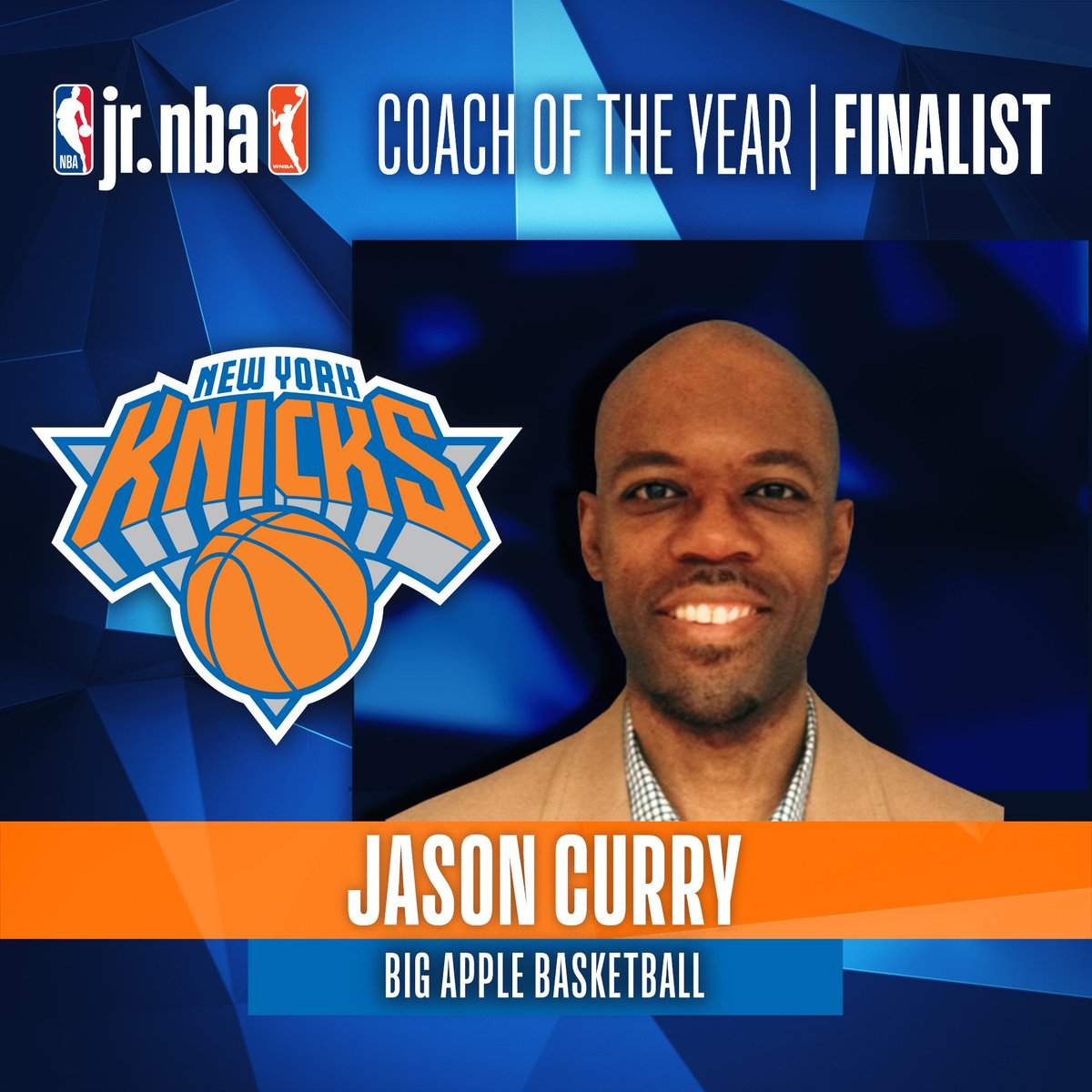 A finalist for 2019 #JrNBACOY is Jason Curry. Coach Jason, nominated by @nyknicks, runs Big Apple Basketball in NYC helping youth fulfill their dreams! Jr. NBA Coach of the Year will be announced at the Jr. NBA Youth Basketball Leadership Conference!   ➡️ http://on.nba.com/2Ga8z7J