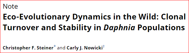 Ahead of Print:  Eco-Evolutionary Dynamics in the Wild: Clonal Turnover and Stability in Daphnia Populations Ms: https://www.journals.uchicago.edu/doi/full/10.1086/703484…