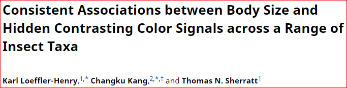 Ahead of Print:  The evolution of hidden contrasting coloration is associated with body size in insects Summary: https://www.amnat.org/an/newpapers/JulyLoefflerHenry.html… Ms: https://www.journals.uchicago.edu/doi/full/10.1086/703535…