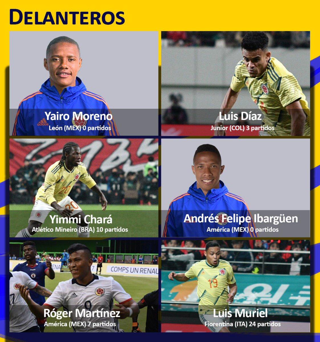 Estos son los delanteros de la Selección Colombia en la lista provisional de la @CopaAmerica.   #ListaDe40