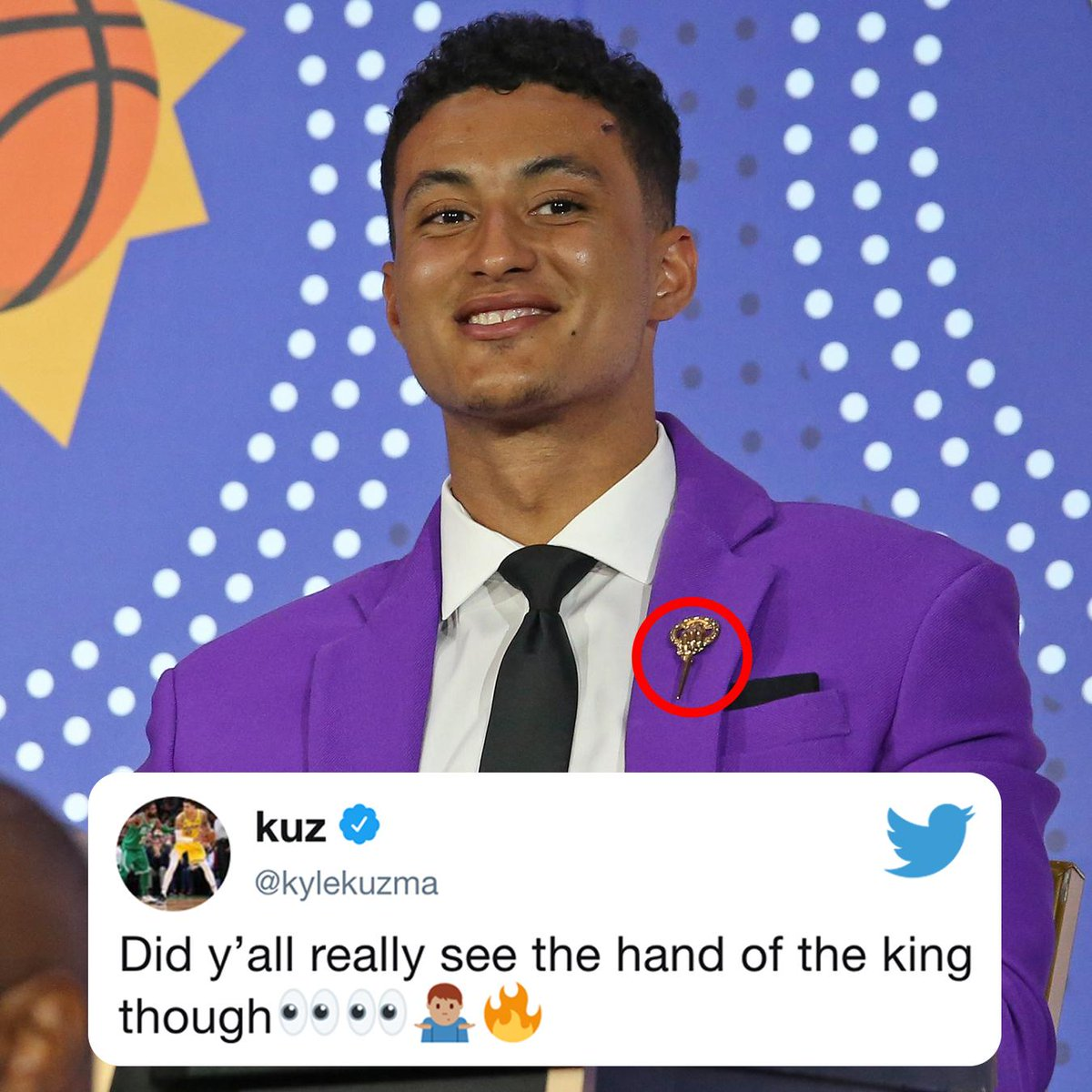 """.@kylekuzma really wore a """"Hand of the King"""" pin at the lottery 😂"""