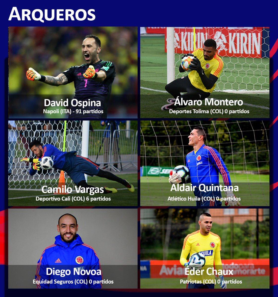 Estos son los arqueros de la Selección Colombia en la lista provisional de la @CopaAmerica.   #ListaDe40