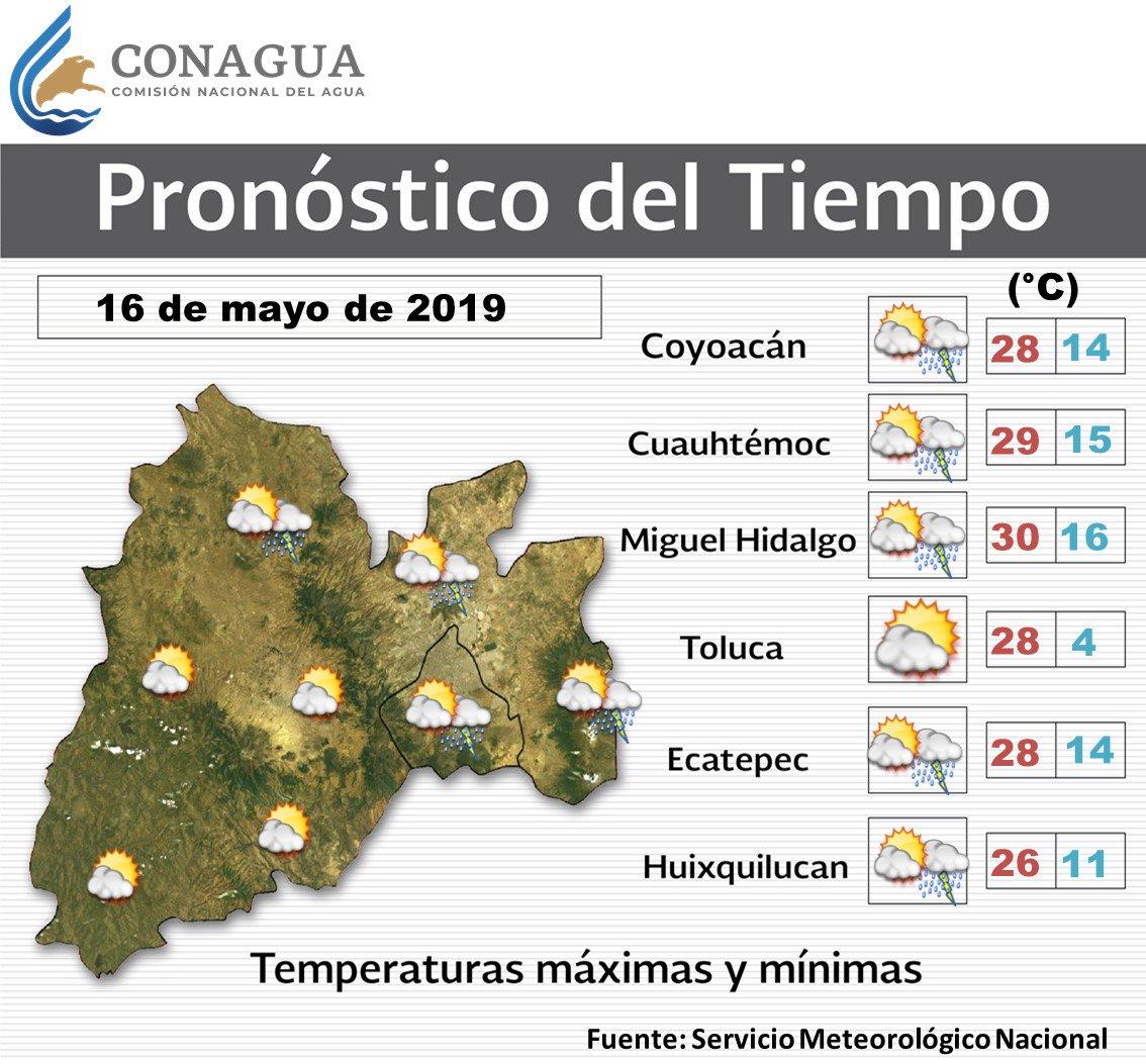 Para mañana se prevén #Chubascos en algunas zonas de la #CDMX y el #EdoMéx