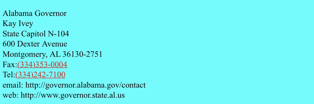Here's her contact info. Flood her phone and email with your disgust at her draconian behaviour. She has betrayed her own gender. #BoycottAlabama