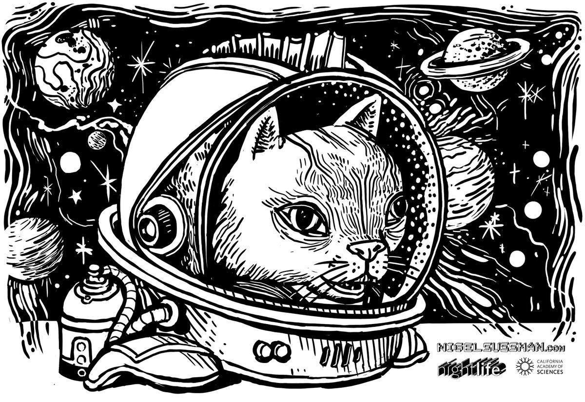 Tomorrow at NightLife, artist @nigelsussman is live-drawing whatever you request as an astronaut: You, your pet, a dinosaur, an alien you once saw in a dream, whatever! (You even get to take a print home.) 🚀 bit.ly/2XEfU5j