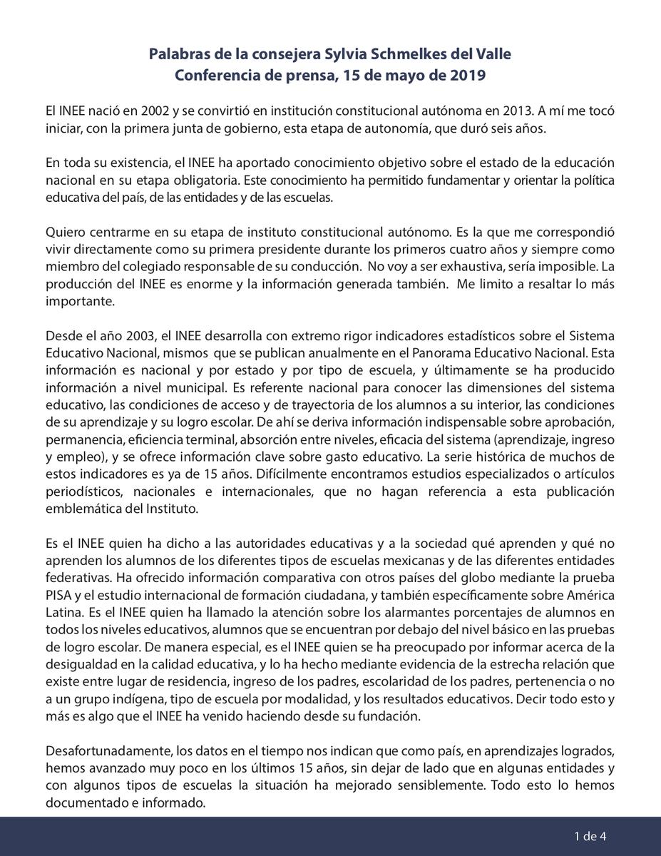 Te compartimos el mensaje de Sylvia Schmelkes del Valle, consejera de la Junta de Gobierno del INEE, emitido en la conferencia de prensa de hoy. https://t.co/zMQkco9FvF