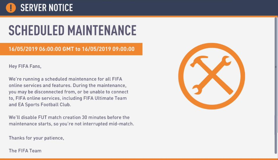 ONLINE MODES DISABLED AT 0600 GMT Meaning NOW for the Next 3