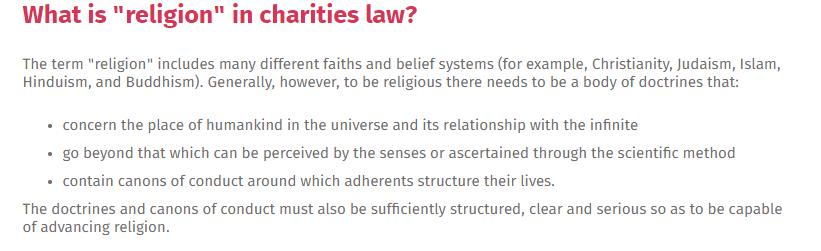 @chrisinchch @dpfdpf @GraemeEdgeler Incorrect. There is no dictating whether a religion can be registered. If the religion meets the definition as entrenched in Charities law, there is nothing that can be done to prevent it from being registered. The law binds government as well as the entity being registered.