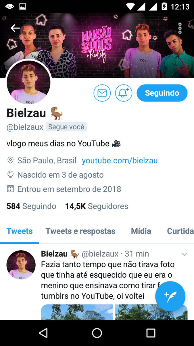 Ai ele me seguiu, só seu fã @bielzaux