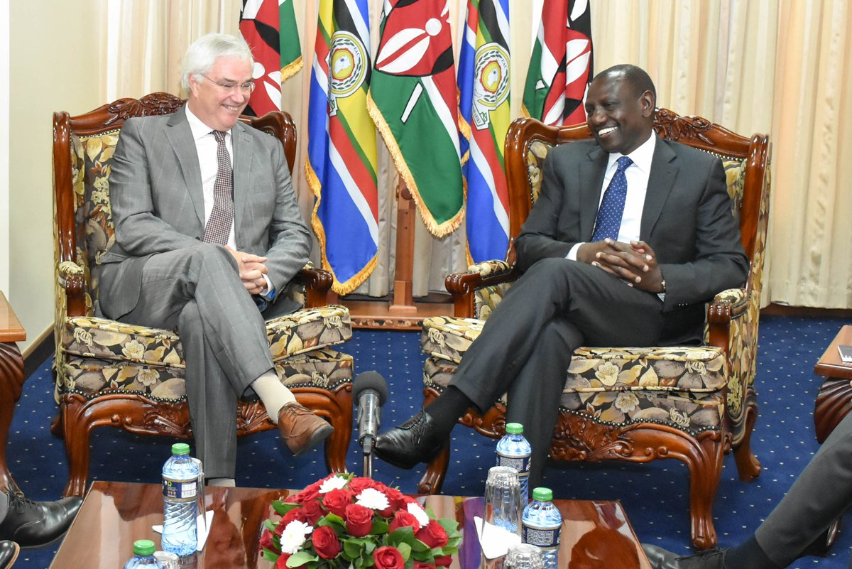 During talks with Carl Decaluwe, the Governor of West Flanders, Karen office, Nairobi County.