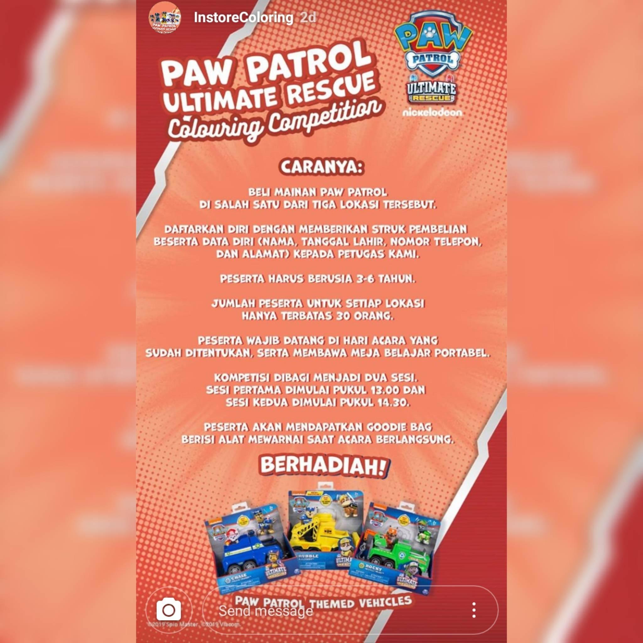 "Lomba Anak Pfenix On Twitter ""Lomba Mewarnai Paw Patrol"